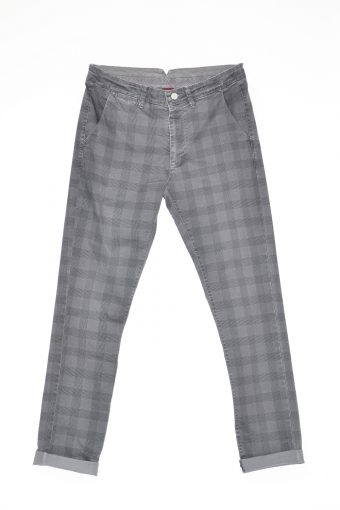 A17P007    0009 CHINOS PRINT CHECK Dark gray