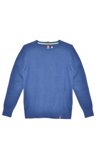S18M001    0003 ROUND NECK SWEATER BASIC 100%CO Royal