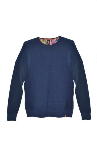 S18M005    0002 HONEYCOMB ROUND NECK SWEATER 100%CO Blue