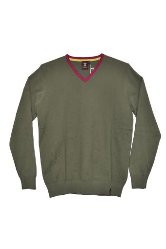 S18M010    0071 JACQUARD V NECK SWEATER 100%CO Military Green