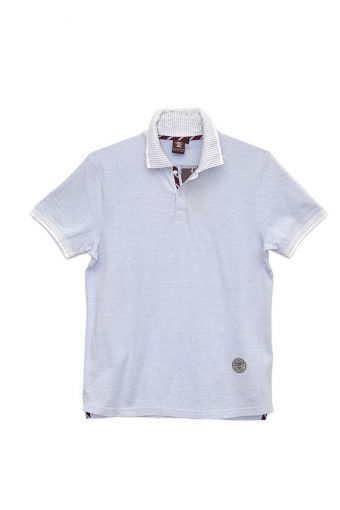 S18PS004   1603 POLO Y/D 100%CO Off White - Royal