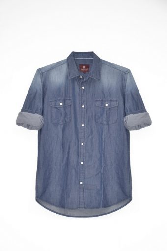 S18S012    0002 SHIRT DENIM BASIC 100%CO DENIM Blue