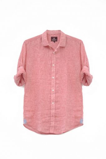 S18S030    0094 SHIRT LINO 55%LI 45%CO Red