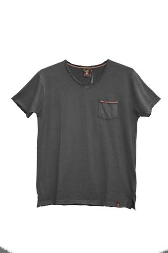 S18T002    0090 T-SHIRT V-NECK 100%CO Black
