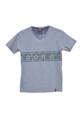 S18T010    0002 T-SHIRT STARS 100%CO Blue
