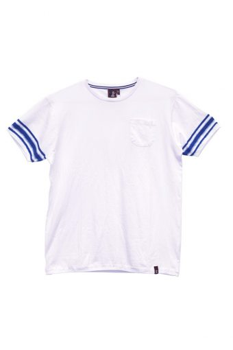 S18T023    1602 T-SHIRT STRIPES SPORTS 100%CO Off White - Peacot Blue