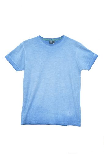 S18T029    0055 T-SHIRT BASIC GD 100% SLUB JERSEY CO treatment garnen dye Blu Topazio - Light Blue
