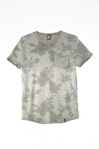 S18T053    0071 T-SHIRT FLOWER VINTAGE 70%VI 30%PL Military Green