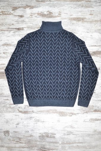 A18M007    0237 SWEATER HERRINGBONE - 70%ACRYLIC 30%WOOL Dark Blue Melange