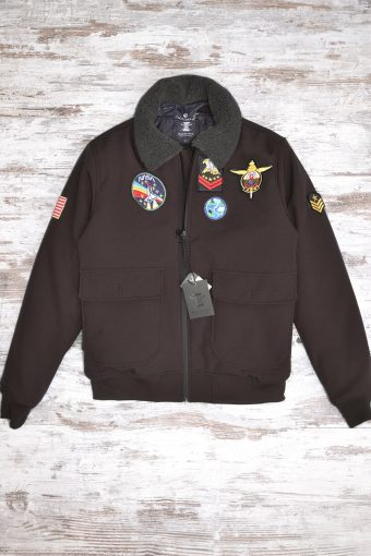 A18J007    0040 AVIATOR JKT WITH PATCH - 100% NY Brown