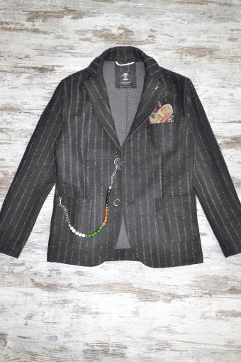 A18J021    0001 STRIPES BLAZER - 62% PL 5%VI 33%WV Anthracite