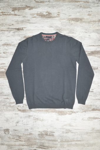 A18M001    0081 SWEATER ROUND NECK BASIC - 80%CO 20%NY Piombo