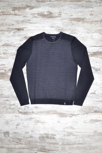 A18M022    0237 SWEATER FRONT JAQUARD - 40%ACRYLIC 40%VI 20%NY Dark Blue Melange