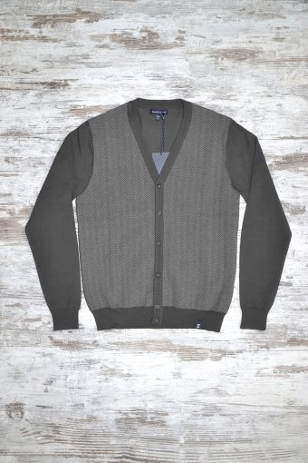 A18M025    0137 CARDIGAN HERRINGBONE - 80%CO 20%NY Anthracite Melange