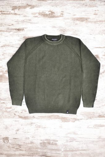 A18M030    0053 SWEATER ACID WASH - 100%CO Army Green