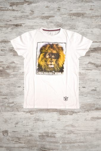A18T008    0050 T-SHIRT LION - 100% JERSEY CO Ice Flow - Optical White
