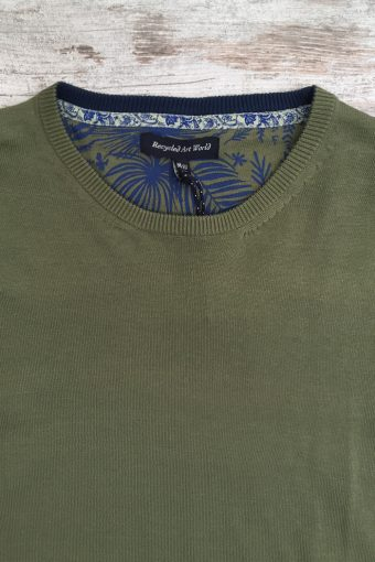 S19M001    0071 SWEATER ROUND NECK BASIC - 100%CO Military Green