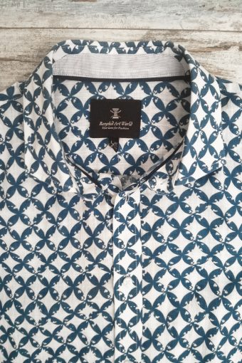 S19S017    0002 SHIRT MERLINO SHORT SLEEVES - 100%LI Blue