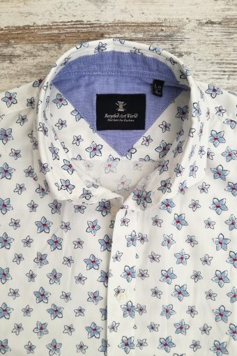 S19S028    0017 SHIRT FLOWERS SHORT SLEEVES - 98%CO 2&EA Light Blue Provence