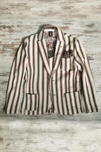 S19J001    0040 BLAZER STRIPES - 75%CO 25%PL Brown