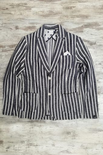 S19J005    0002 BLAZER STRIPES - 75%CO 25%PL Blue