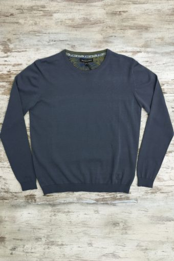 S19M001    0002 SWEATER ROUND NECK BASIC - 100%CO Blue