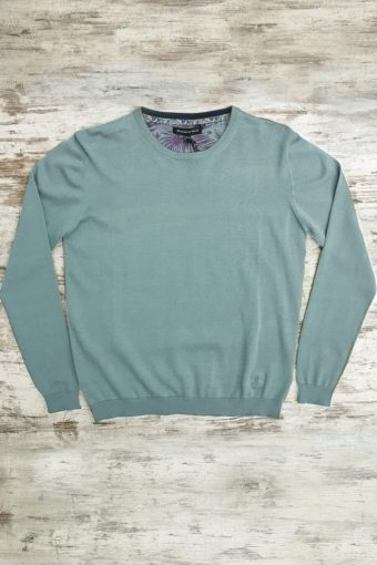 S19M001    0005 SWEATER ROUND NECK BASIC - 100%CO Mineral Blue