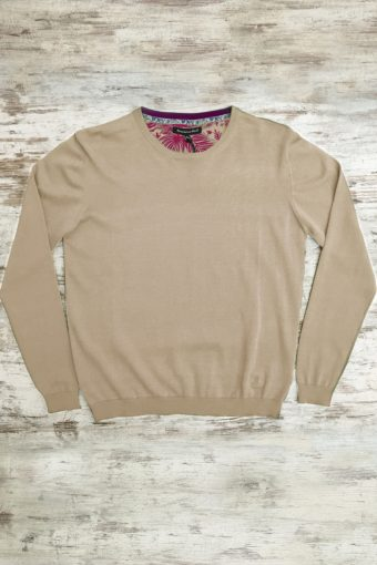 S19M001    0038 SWEATER ROUND NECK BASIC - 100%CO Sand