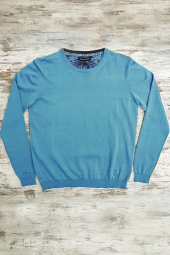 S19M001    0045 SWEATER ROUND NECK BASIC - 100%CO Light Blue