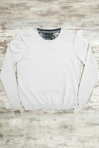 S19M001    0050 SWEATER ROUND NECK BASIC - 100%CO Ice Flow - Optical White