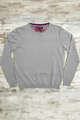 S19M001    0061 SWEATER ROUND NECK BASIC - 100%CO Gray