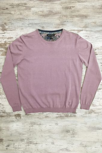 S19M001    0067 SWEATER ROUND NECK BASIC - 100%CO Mauve Rose