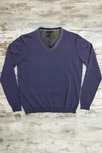 S19M002    0002 SWEATER V-NECK BASIC - 100%CO Blue
