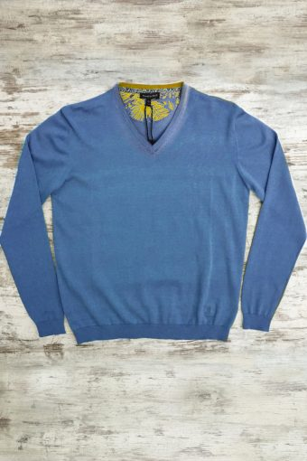 S19M002    0003 SWEATER V-NECK BASIC - 100%CO Royal