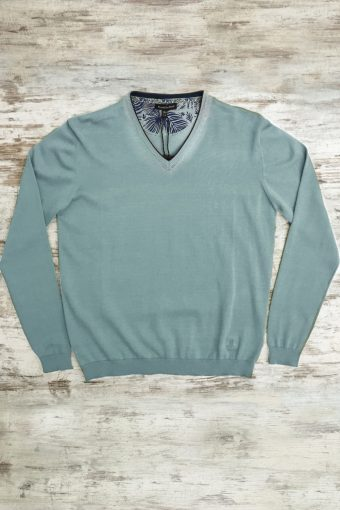 S19M002    0005 SWEATER V-NECK BASIC - 100%CO Mineral Blue