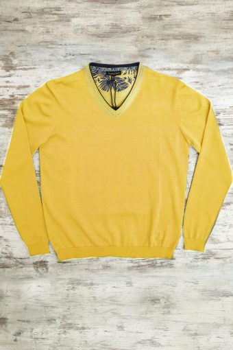 S19M002    0010 SWEATER V-NECK BASIC - 100%CO Yellow