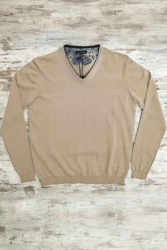 S19M002    0038 SWEATER V-NECK BASIC - 100%CO Sand