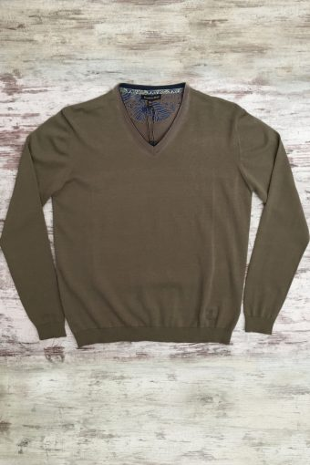 S19M002    0040 SWEATER V-NECK BASIC - 100%CO Brown