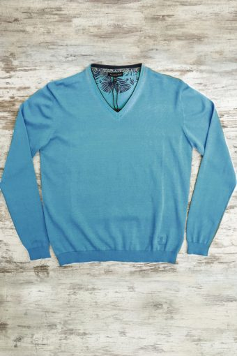 S19M002    0045 SWEATER V-NECK BASIC - 100%CO Light Blue