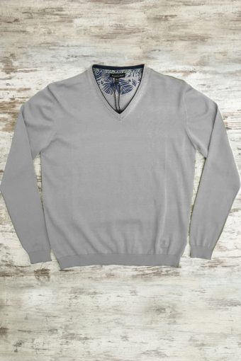 S19M002    0061 SWEATER V-NECK BASIC - 100%CO Gray