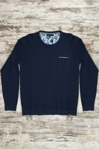 S19M004    0002 SWEATER JACQUARD - 100%CO Blue
