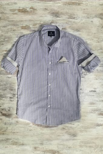 S19S010    0002 SHIRT STRIPES GAME - 98%CO 2%EA Blue