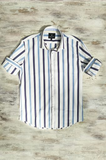 S19S026    5002 SHIRT STRIPES FAST - 72%CO 25%PA 3%EA Optical White - Peacoat Blue
