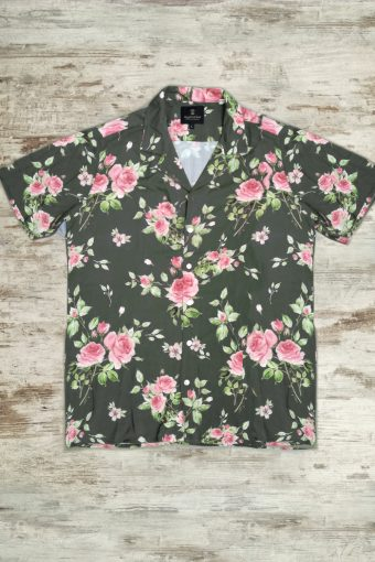 S19S044    0071 SHIRT ROSES - 100%CO Military Green