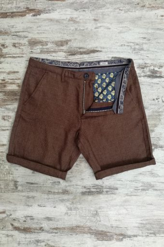 S19SH017   0040 CHINO SHORTS DARWIN - 36%LI 54%PL 10%VI Brown