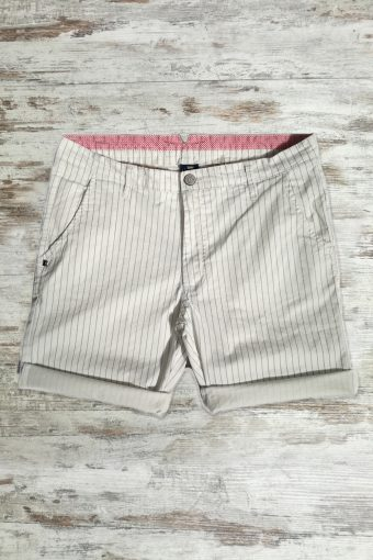 S19SH018   0050 CHINO SHORTS STRIPES - 98%CO 2%EA Ice Flow - Optical White