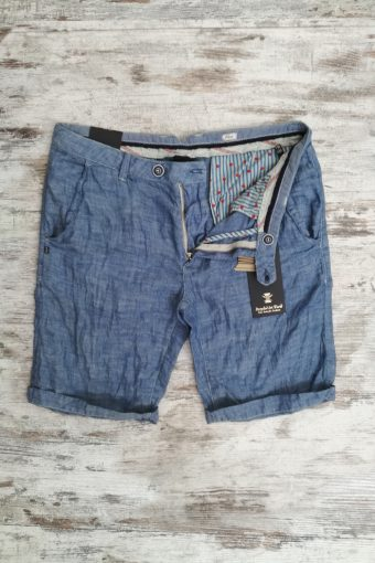S19SH022   0005 CHINO SHORTS LINEN - 65%LI 35%CO Mineral Blue