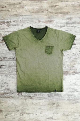 S19T034    0071 T-SHIRT V NECK - 100%CO Military Green
