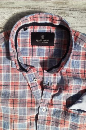 S19S034    4594 SHIRT CHECK - 100%CO Light Blue - True Red