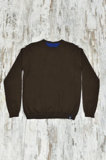 A19MM025   2840 SWEATER BICOLOR - 80%CO 20%NY Blue - Brown Coffee